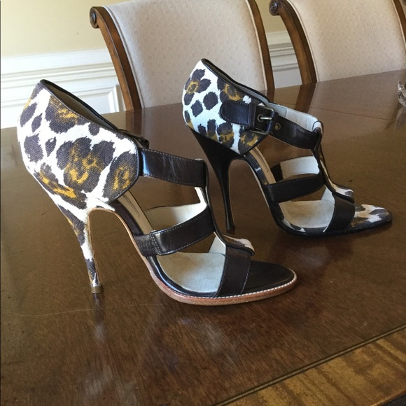 9caf16e8b24 Brian Atwood Shoes - BRIAN ATWOOD Canvas Animal Print Caged Sandal Sz.7